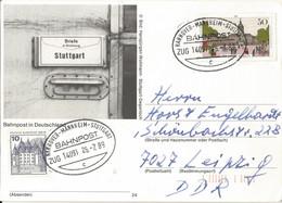 """20 081 Postkarte Bahnpost """"HANNOVER-MANNHEIM-STUTTGART"""" 1989 - Covers & Documents"""