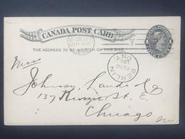 CANADA 1895 Stationary Postcard Berlin Ont. To Chicago USA - `Bank Of Hamilton` - Brieven & Documenten