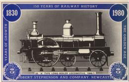 Newcastle A Type Long Boiler Locomotive Robert Stephenson Postcard - Trains