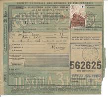 BULLETIN D'EXPEDITION D'UN COLIS POSTAL CHEMIN DE FER / N° 193 / MURET LE CHATEAU AVEYRON 1943 - Covers & Documents