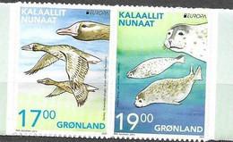 GREENLAND, 2021, MNH,EUROPA , ENDANGERED FAUNA, BIRDS, SEALS, 2v S/A Ex. BOOKLET - Other