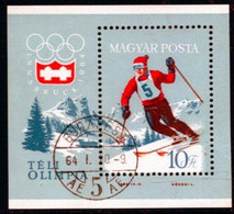 HUNGARY 1964 Winter Olympics  Block Used.  Michel Block 40 - Blocks & Kleinbögen
