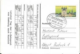"20 085 Schmuck-Postkarte Letzttag Bahnpost ""HAMBURG-ROSTOCK"" 1994 - Covers & Documents"