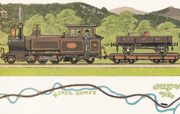 Leek & Manifold Valley Light Railway Train At Beeston Tor Station Postcard - Treni