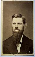 Photographie CDV USA - Portrait Homme Identifié Très Longue Barbe Pointue - Autographe- Freeport, Illinois  - 1879 - TBE - Alte (vor 1900)