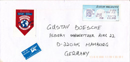 Israel Cover With ATM Franking Label Sent Air Mail Express To Germany Herzliya 5-8-1999 - Lettres & Documents