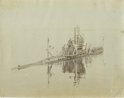 040721 - PHOTO ANCIENNE BOUGAULT TOULON MILITARIA - BATEAU SOUS MARIN ANGUILLE 1901 ? GRAND FORMAT MARINE GUERRE - Submarines
