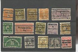 39925) Collection US Precancel Perfin Postmark Cancel - Precancels