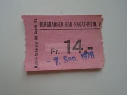 DT012  Schweiz  Switzerland   Bergbahnen Bad Ragaz - Pizol    Fr. 14.-   1976 - Andere