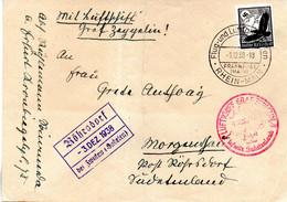 (L-N) DR Brief Mit Luftschiff Graf Zepprlin EF Mi.537 SSt 1.12.38 Flug-und Luftschiffhafen FRANKFURT (MAIN) - Covers & Documents