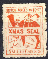 British Forces In Egypt 1940 Xmas Seal Rosso MNH - Unused Stamps