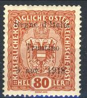 Trentino 1918 Sas. N. 13 H 80 Bruno Rosso Ben Centrato *MH Cat. € 200 Firmato Biondi + Timbro Garanzia - Trentino