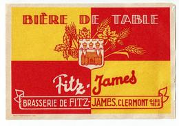 Ancienne étiquette Brasserie Fitz-James à Clermont 60 - Beer