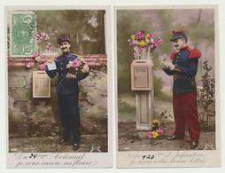Lot De 2 Cartes Fantaisie Militaire Patriotique - Du 24ème Colonial Et 127ème D'infanterie - Boîte Aux Lettres - Poste - Patriottisch