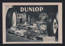 Pub Papier 1955 Pneus DUNLOP Voiture Pneu  Citroen DS Panhard 203 Fregate 403 Versailles - Werbung
