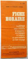 FICHE HORAIRE SNCF 1979 LIGNE PARIS GARE DE LYON TOULON HYERES - Europe