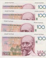 4 X 100 Frank Beyaert UNC Lakiere Godeaux Opeenvolgende Nummering. Successive Numbers. RRR - 100 Francs