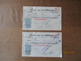 FOURMIES BRASSERIE HENRI VAN CROMBRUGGHE 2 Reçus  DES 8/8 ET 24/10/1921 TIMBRES QUITTANCES - 1900 – 1949