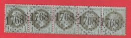 N°25 BANDE DE 5 GC 1768 HAUMONT NORD COTE TIMBRES 160€ - 1849-1876: Periodo Classico