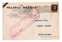 """12730 """" S.A. FRATELLI MEAZZA-FABBRICA OTTONAMI-FERRAMENTA-SPECIALITA' GUARNIZIONI PER MOBILI-MILANO """"- CART. SPED.1935 - Non Classificati"""