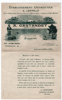 ANDERNOS (33) OSTREICULTURE A. CASTANDET. TARIFS. 1934/1935. - Advertising