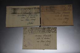 LOT 3 PLIS FRANCHISE MILITAIRE 2 ÈME RÉGION AERIENNE 1AFFRANCHISSEMENT ANNIVERSAIRE DE LA LÉGION LVF LFC - Tarjetas De Franquicia Militare