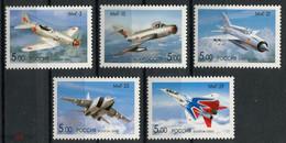 RUSSIE/RUSSIA/RUSSLAND/ROSJA 2005 MI.1276-80** , ,ZAG.1044-48 ,YVERT.6893-97,- , Mikoyan, Aviation, Airplanes, - Unused Stamps