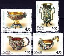 RUSSIE/RUSSIA/RUSSLAND/ROSJA 2004 MI.1212-15** ,ZAG.980-83,YVERT 6838-41 , Russian Silverware Of The Late 19th–early 2 - Ungebraucht