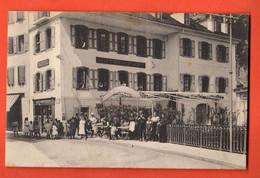 ZPB-15  TRES RARE  Montreux Hotel Du Pont. TRES ANIME. Dufaux Sans Numéro. Cachet 1918 - VD Vaud
