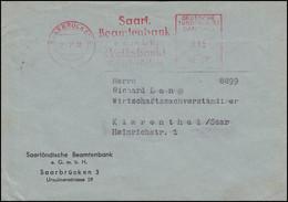 Absenderfreistempel Beamtenbank Volksbank SAARBRÜCKEN 21.11.58 Auf Brief - Covers