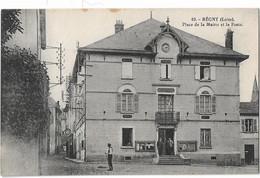 REGNY - Place De La Mairie Et La Poste (vue Animée) - Other Municipalities
