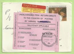 Brief Naar England, Strookje UNDELIVERABLE ITEM / RETURN / RETOUR (B9192) - Lettres & Documents