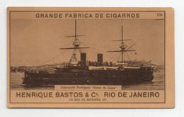 Carte Cigarettes Grande Fabrica Cigarros Henrique Bastos Rio De Janeiro Chromo Croiseur Portugais Vasco Da Gama - Other