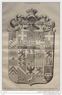 Pennon Généalogique De Henri De Bourbon, Comte De Chambord - Page Original - 1883 - Historische Documenten