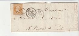 Lettre Avec Classiques De France:Napoléon N°13A, P.C. 1081 Dax, 1856, Cote Seul Sur Lettre 25e - 1853-1860 Napoleon III
