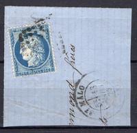 """FRANCE : OBLITERATION LOSANGE SUR FRAGMENT : GC """" 3176 St-Malo Ille-et-Vilaine """". A SAISIR . - 1849-1876: Période Classique"""