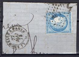 """FRANCE : OBLITERATION LOSANGE SUR FRAGMENT : ? """" La Rochelle A Paris"""". A SAISIR . - 1849-1876: Période Classique"""