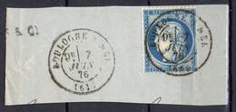 """FRANCE : OBLITERATION SUR FRAGMENT : CAD """" Boulogne-sur-Mer Pas-de-Calais   """". A SAISIR . - 1849-1876: Période Classique"""