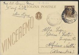 STORIA POSTALE R.S.I.- CARTOLINA POSTALE VINCEREMO CENT. 30 DA NOVI LIGURE 15.5.44 PER ALFIANO NATTA (AL) - Marcofilía