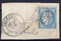 """FRANCE : OBLITERATION LOSANGE SUR FRAGMENT : G C 2740 """"  Orléans Loiret """". A SAISIR . - 1849-1876: Période Classique"""