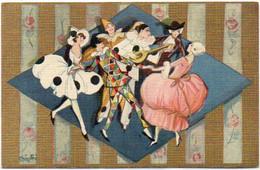 CHIOSTRI - Art Déco - Pierrot, Colombine,Arlequin...Rehaussée Or L (7459 ASO) - Chiostri, Carlo