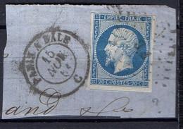 """FRANCE : OBLITERATION LOSANGE SUR FRAGMENT : G C ? """" Paris A Bale ?  """". A SAISIR . - 1849-1876: Période Classique"""