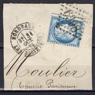 """FRANCE : OBLITERATION LOSANGE SUR FRAGMENT : G C 6308 """" Bordeaux-lès-Salinières Gironde  """" . A SAISIR . - 1849-1876: Période Classique"""