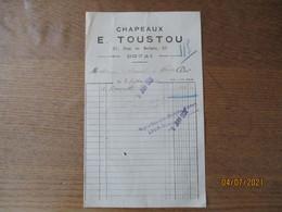 DOUAI CHAPEAUX E. TOUSTOU 37 RUE DE BELLAIN  FACTURE DU 2 SEPTEMBRE 1921 - 1900 – 1949