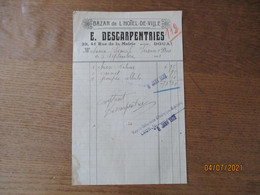 DOUAI E. DESCARPENTRIES BAZAR DE L'HOTEL DE VILLE 39,41 RUE DE LA MAIRIE FACTURE DU 3 SEPTEMBRE 1921 - 1900 – 1949