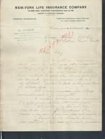 LETRRE DE 1917 ECRITE DE VILLENEUVE SUR YONNE E DORY ASSURANCE NEW YORK ( ETATS UNIS ) LIFE INSURANCE COMPANY - United States
