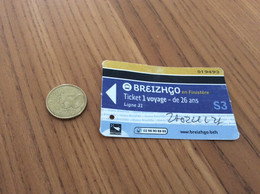 """Ticket De Bus Région Bretagne """"BREIZHGO - 1 Voyage - De 26 And - Ligne 31 - S3"""" Finistère (29) - Europe"""