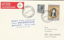 Italie - Primo Volo Postale Linea Interflug Milano-Berlino 08/11/1974 - - 1971-80: Marcofilia