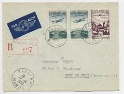 MAROC PA 15FR PAIRE +50FR LETTRE REC AVION RABAT RP 29.4.1950 - Covers & Documents