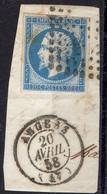 """FRANCE : OBLITERATION LOSANGE SUR FRAGMENT : PC 99  """" Angers Maine-et-Loire """". A SAISIR . - 1849-1876: Période Classique"""